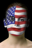 Face paint : american flag. On black background stock photography