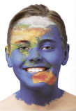 Face paint - asia. Face paint : girl with map painted on her face isolated on white royalty free stock images