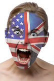 Face paint : british and ameri. Can flag isolated on white Stock Photography