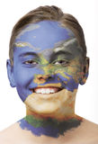 Face paint - Europe. Face paint : girl with map painted on her face isolated on white stock images