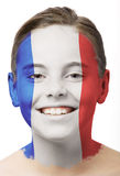 Face paint - flag of France. Girl with face paint of french flag on her face stock image