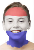 Face paint - flag of Holland. Face paint, girl with flag painted on her face isolated on white stock photos