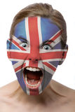Face paint : girl with British. Flag isolated on white Royalty Free Stock Photos