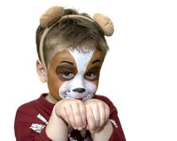 Face painted five year old Royalty Free Stock Image