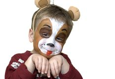 Face painted five year old Royalty Free Stock Photo