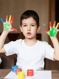 Face, painted, hands, white t-shirt Stock Photos