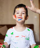 Face, painted, hands, white t-shirt Royalty Free Stock Photo