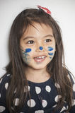 Face painted by mommy royalty free stock images