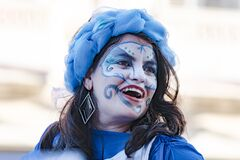 Free Face Painted Woman Of Cuban Street Performers Dancing On Stilts, Havana, Cuba, Celebrating The Annual Carnival Festivity.  Stock Photography - 199259052