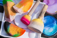 Face painting cosmetics. Color cosmetics, brushes and sponges for face painting. Children party royalty free stock image