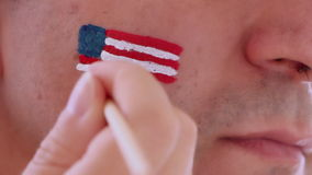 Face painting flag of USA stock footage