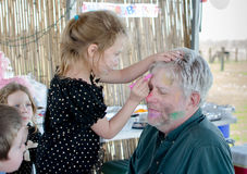 Face painting grandpa Stock Photo