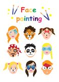 Face painting for kids collection. set of icons in cartoon flat style for banner, poster. children`s holiday background stock illustration