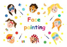 Face painting for kids collection. set of icons in cartoon flat style for banner, poster. children`s holiday background. Vector vector illustration
