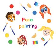 Face painting for kids poster, collection. Vector illustration. eps10 vector illustration