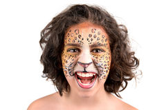 Face painting, leopard Royalty Free Stock Images