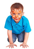 Face painting on little boy. Isolated. Child with paint of face. Make up. Isolated Royalty Free Stock Image