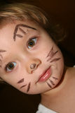Face painting. Little girl with painting face as a cat Royalty Free Stock Photo