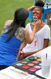 Face Painting. In progress at the National Night Out event at Livingston,NJ Stock Photos
