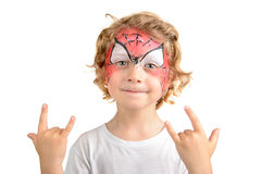 Face painting, spider web Royalty Free Stock Photos