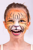 Face painting tiger Royalty Free Stock Photos