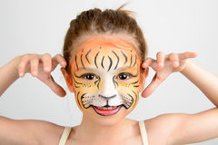 Face painting tiger Royalty Free Stock Images