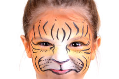 Face painting tiger Royalty Free Stock Image