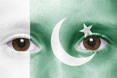 Face with pakistani flag. Human`s face with pakistani flag Royalty Free Stock Photos