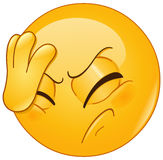 Face palm emoticon. Emoticon placing hand on head. Face palm gesture Stock Image