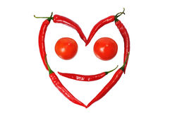 Face from paprica and tomatos Royalty Free Stock Photography