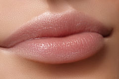 Face part. Beautiful female lips with natural makeup, clean skin. Macro shot of female lip, clean skin. Fresh kiss. Stock Images