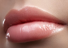 Face part. Beautiful female lips with natural makeup, clean skin. Macro shot of female lip, clean skin. Fresh kiss. Stock Photos