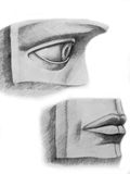 Face parts. Pencil drawing of the two face parts, eye and lips, made from plaster Stock Images