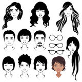 Face parts, head character vector illustration