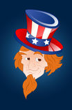 Face of Patriotic Uncle Sam. Cartoon Young Uncle Sam Character Face Closeup Vector Illustration Vector Illustration
