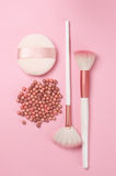 Face pearls blush and accessories Stock Photography