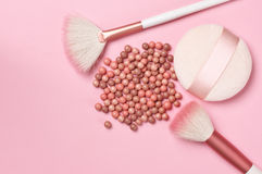 Face pearls blush and accessories Royalty Free Stock Photography