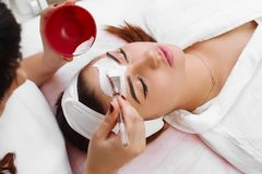 Beautiful woman with facial mask at beauty salon. Face peeling mask, spa beauty treatment, skincare. Woman getting facial care by beautician at spa salon, side Stock Image