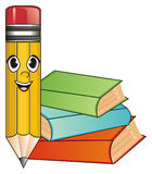 Face of pencil with books Stock Photos