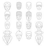 Face people icons  outline Stock Photos