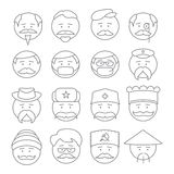 Face people icons  outline Stock Photography