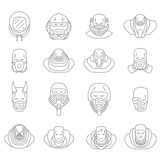 Face people icons  outline Royalty Free Stock Photos