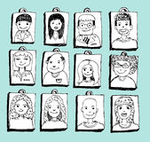 Face people sketch Crowd of funny peoples Royalty Free Stock Photo