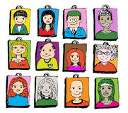 Face people sketch Crowd of funny peoples Stock Photography