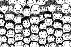 Face people sketch Crowd of funny peoples Stock Images