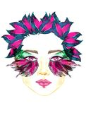 Face with pink fairy eyes with makeup, pink and green turquoise butterfly wings shape eyeshadows, chubby lips, floral hairstyle. Face with pink fairy eyes with Stock Photos
