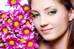 Face with pink flowers Stock Images