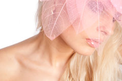 Face. Pink lips. decorative pink tree lea Royalty Free Stock Photos