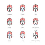 Face plastic surgery, aesthetic medicine symbols Royalty Free Stock Photo