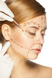 Face before plastic surgery operation Stock Photo